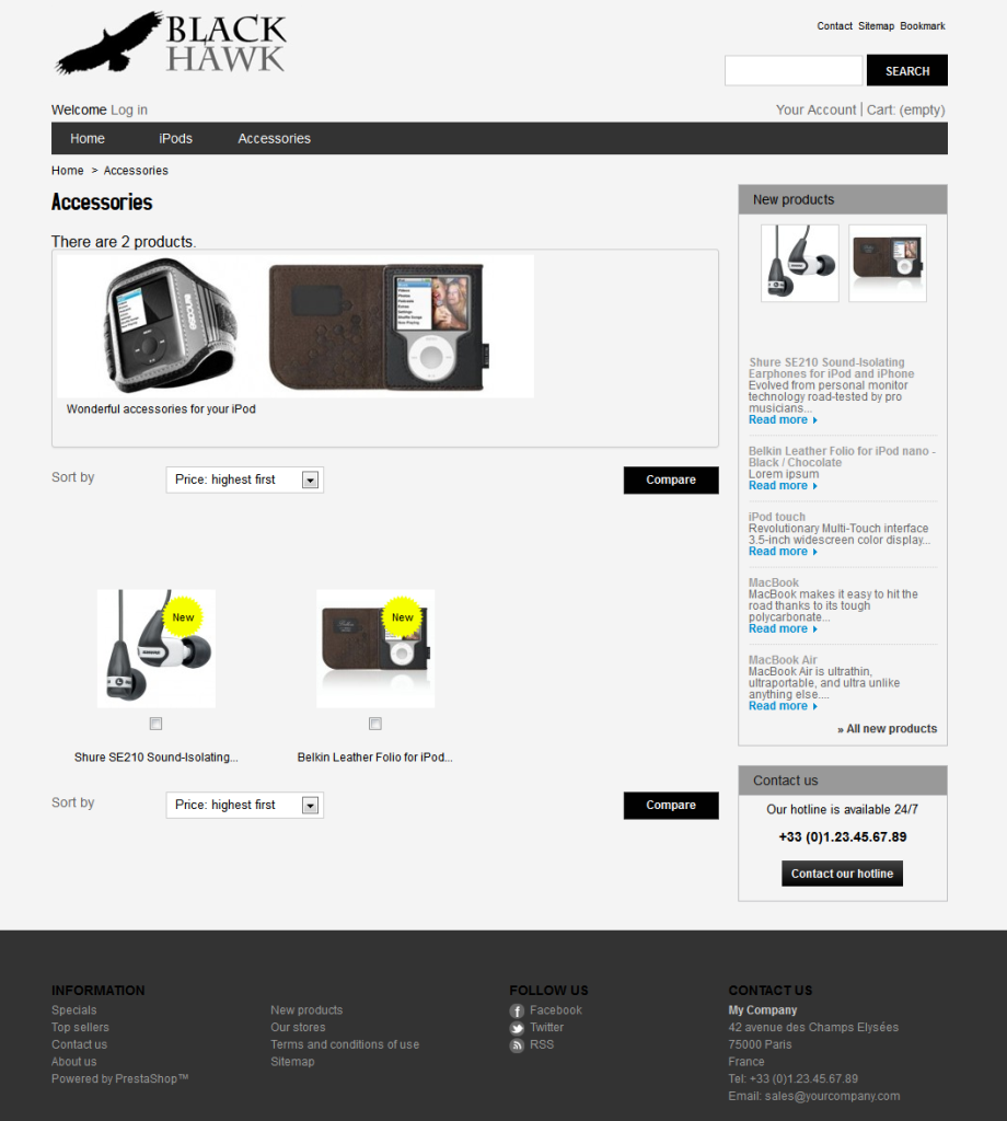 Black Hawk Free Responsive PrestaShop Theme