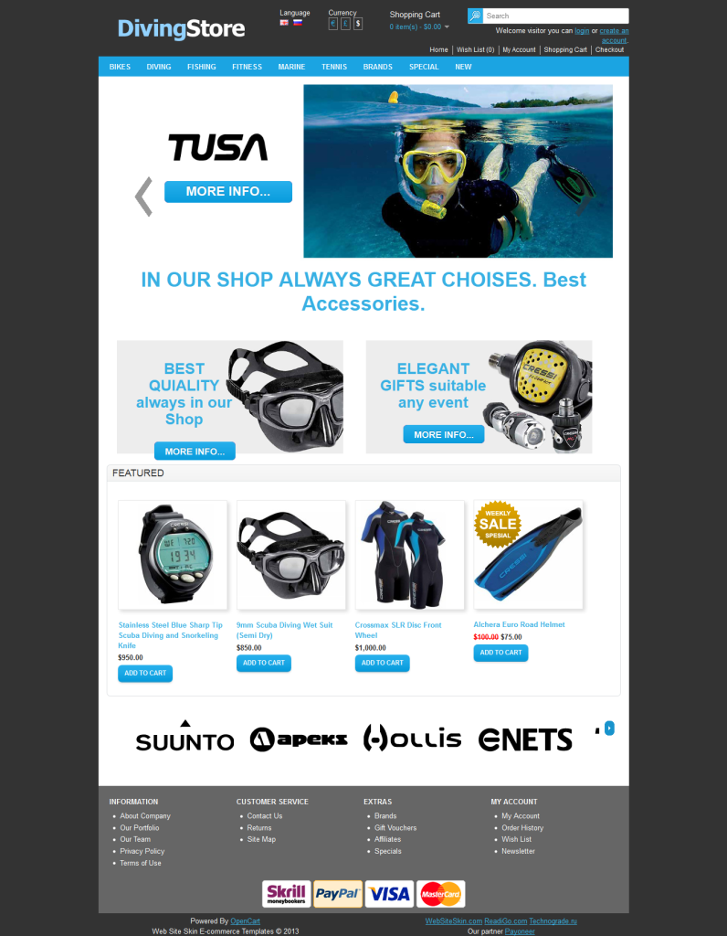 Diving Store Free Opencart Sport Shopping Theme