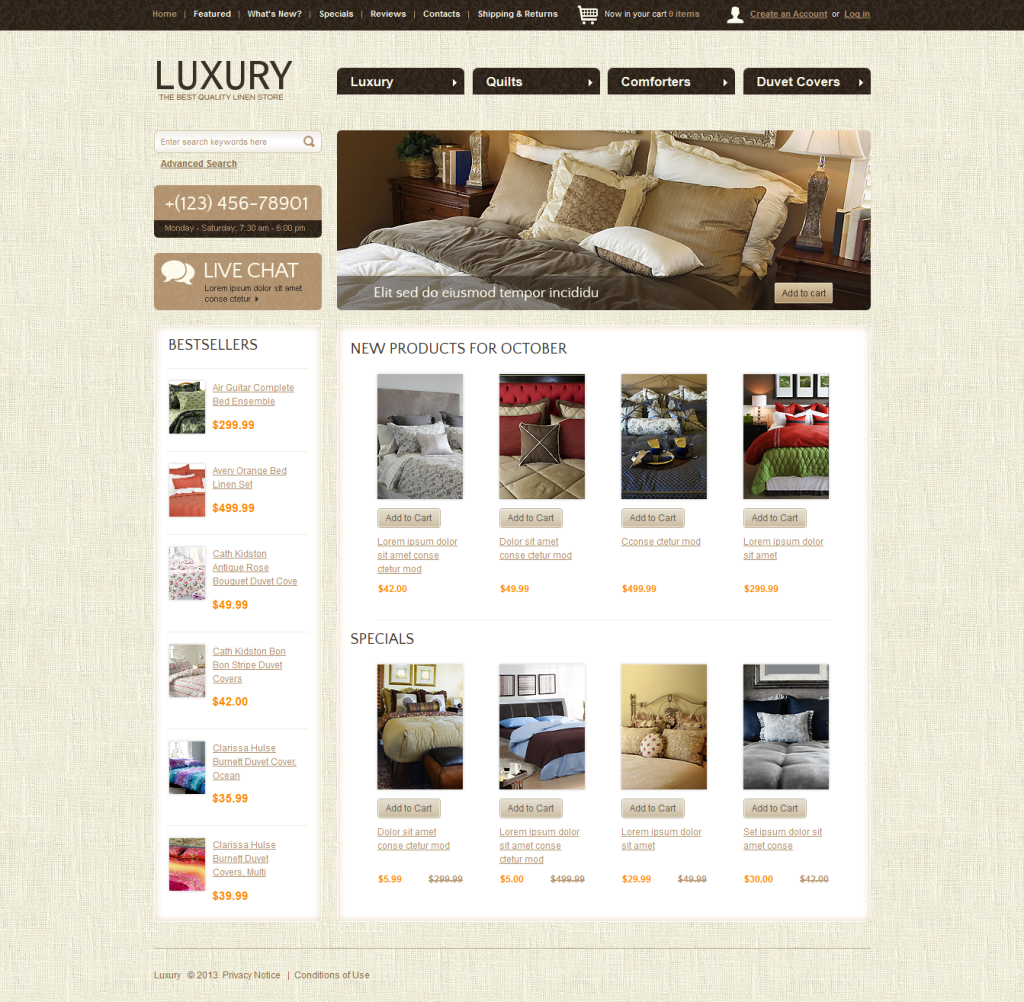 Luxury Free Multi Purpose osCommerce theme